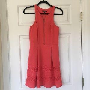 Express Coral Front Zip Dress!